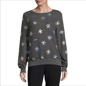 Wildfox Metallic Snowflake Sweater